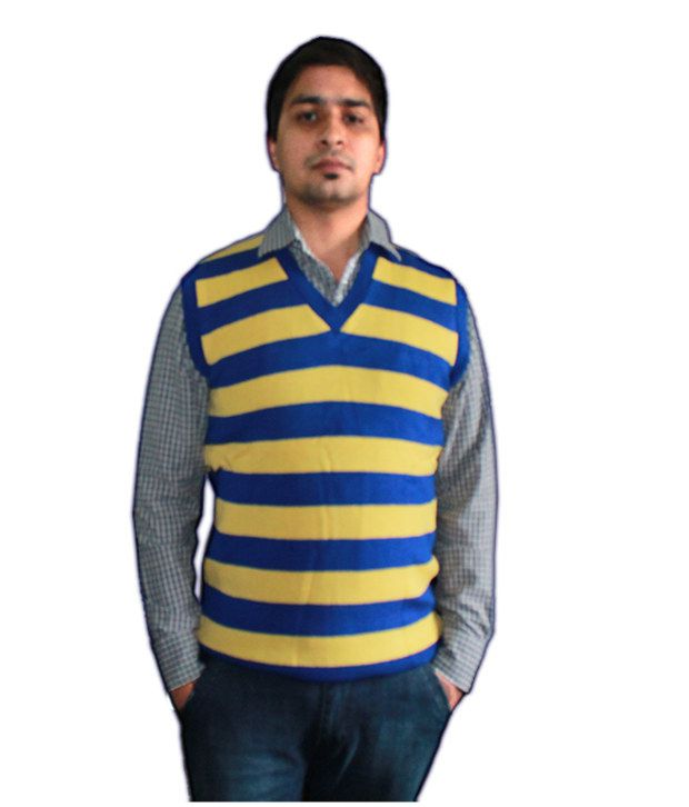 242b63c8 Oswal Yellow And Blue Striped Half Sleeves Sweater - Buy Oswal Yellow And  Blue Striped Half Sleeves Sweater Online at Best Prices in India on Snapdeal