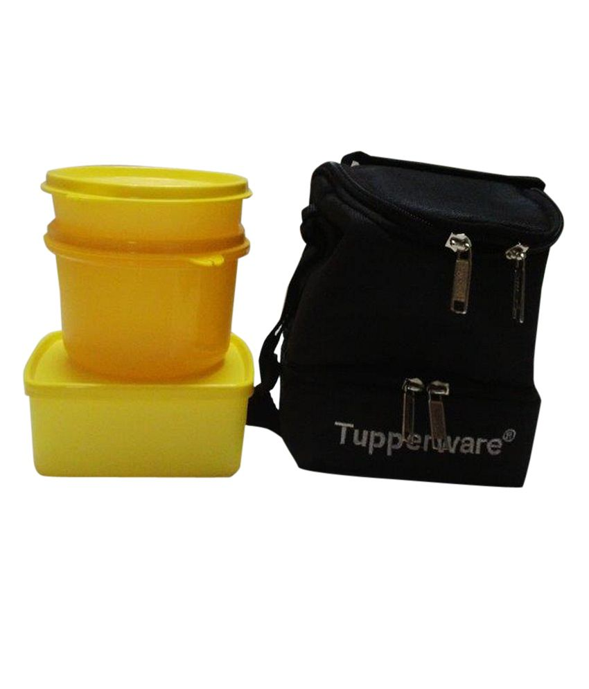 tupperware trendy yellow lunch box with bag buy online at best price in india snapdeal. Black Bedroom Furniture Sets. Home Design Ideas