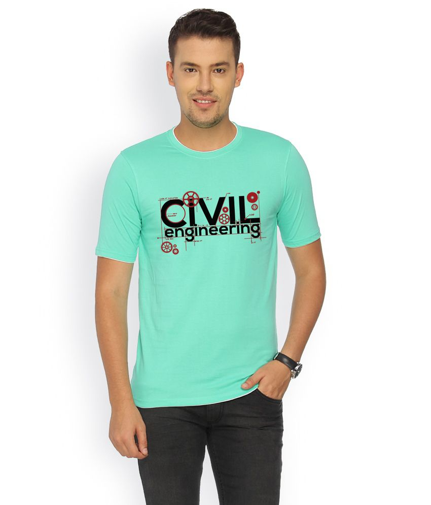 Campus Sutra Green Cotton T-shirt