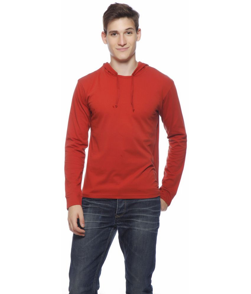 Gritstones Red Cotton Full T-shirt