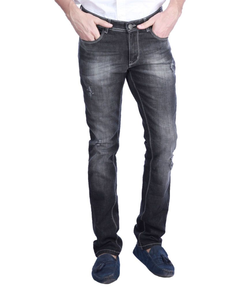 Exile Black Straight Fit Jeans-Black