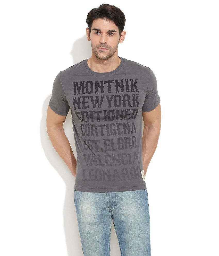Elaborado Light Grey Random Slogan Printed T-Shirt