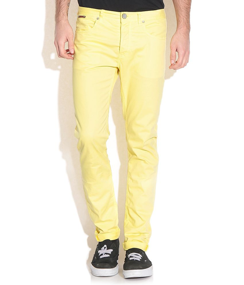 Being Human Yellow Slim Fit Chinos