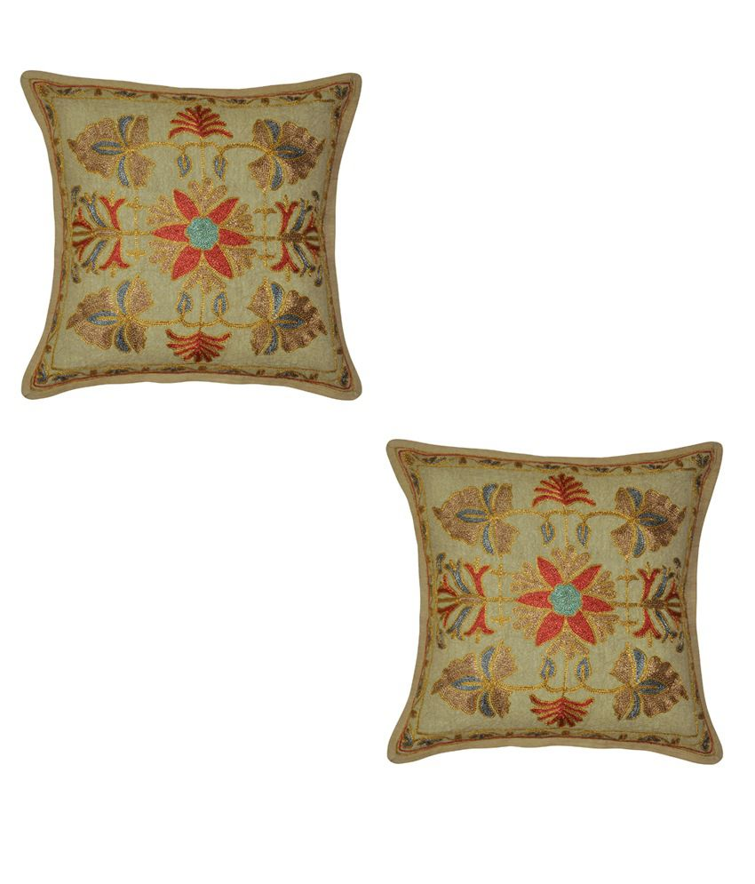 Lalhaveli Embroidery Cotton Cushion Cover Set Of 2