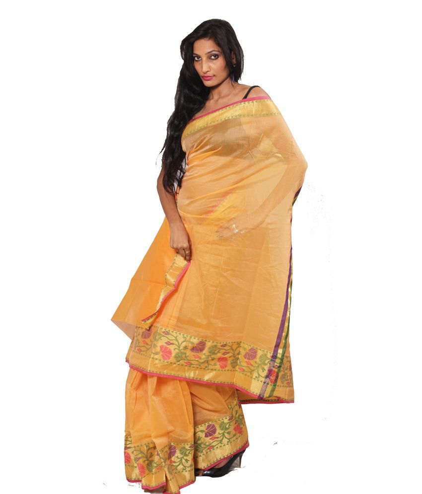 Banarasi Cream Silk Saree With Blouse Piece