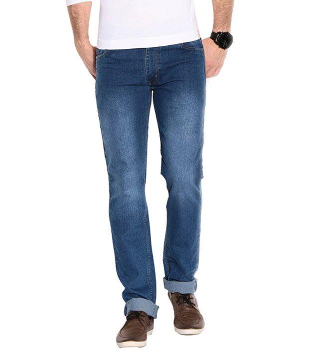 Meghz Navy Blue Cotton Blend Jeans