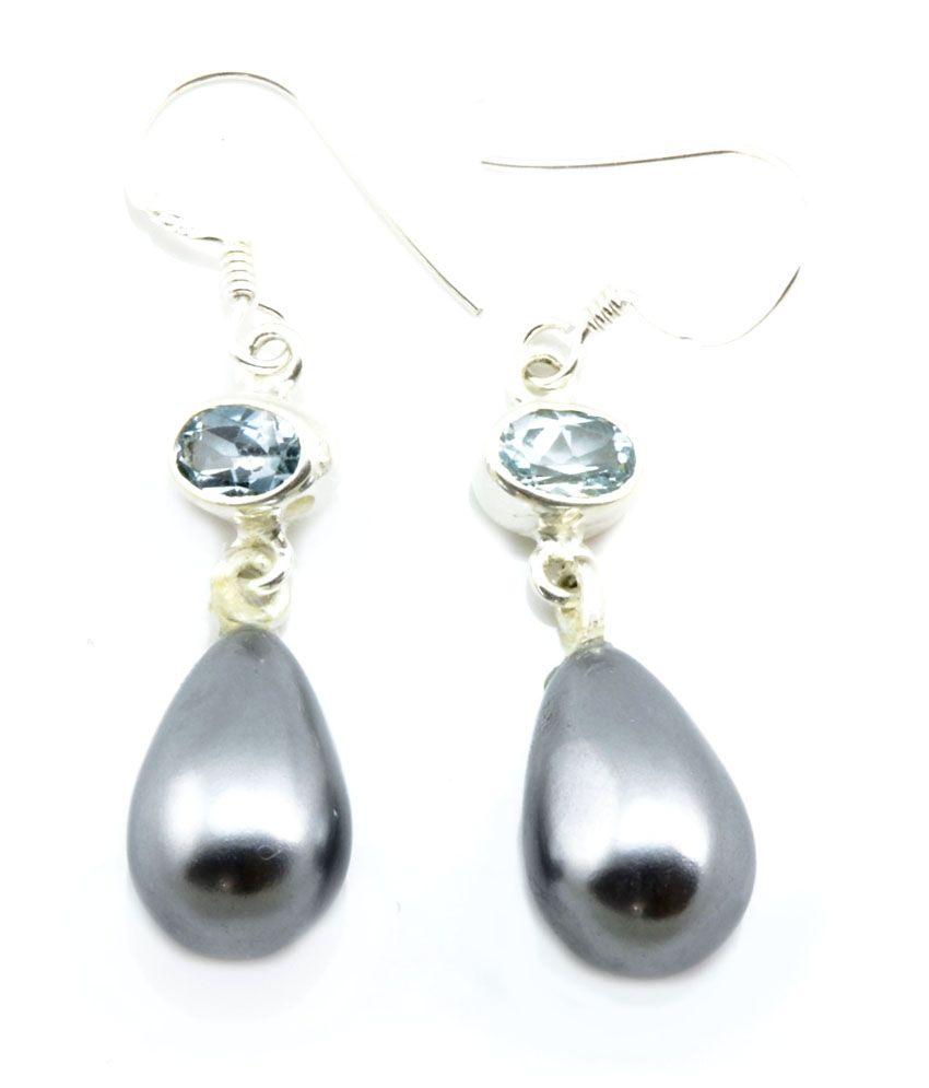 Yugshajewels Multicolor Pearl & Topaz Dangle Earring