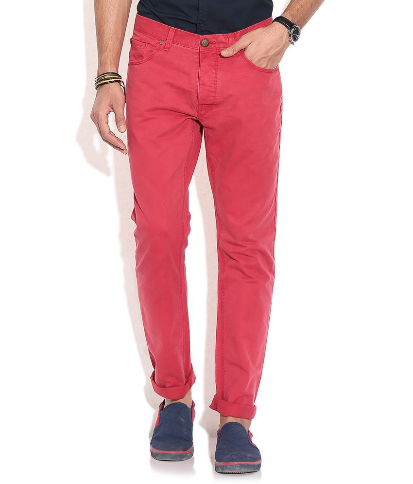 Being Human Red Slim Fit Chinos