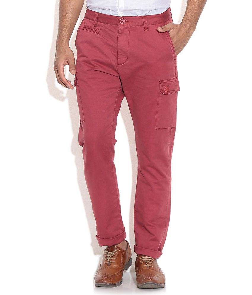 Being Human Red Regular Fit Cargo Trousers