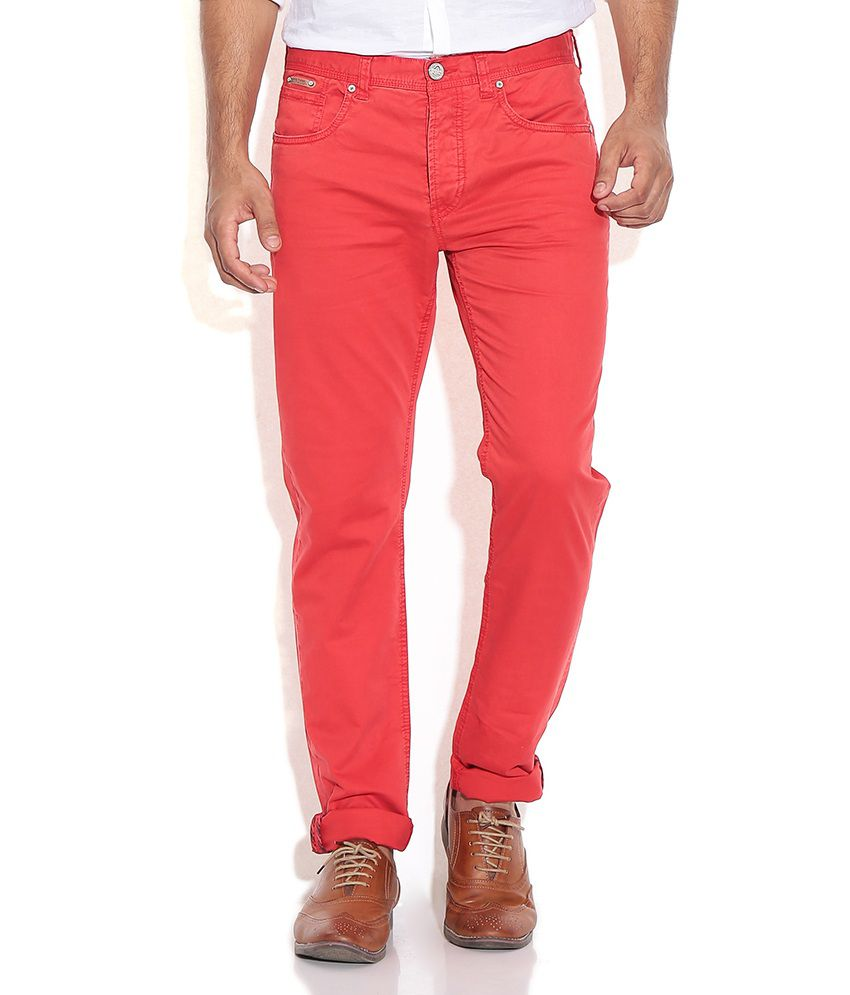 Being Human Red Regular Formals Trousers & Chinos