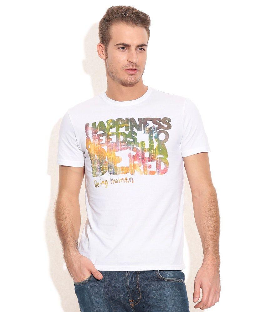 Being Human White Cotton T-Shirt