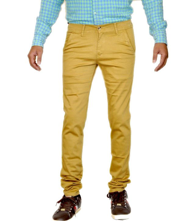 Smartshop123 Casual Brown Satin Lycra Cotton Slim Fit Chinos