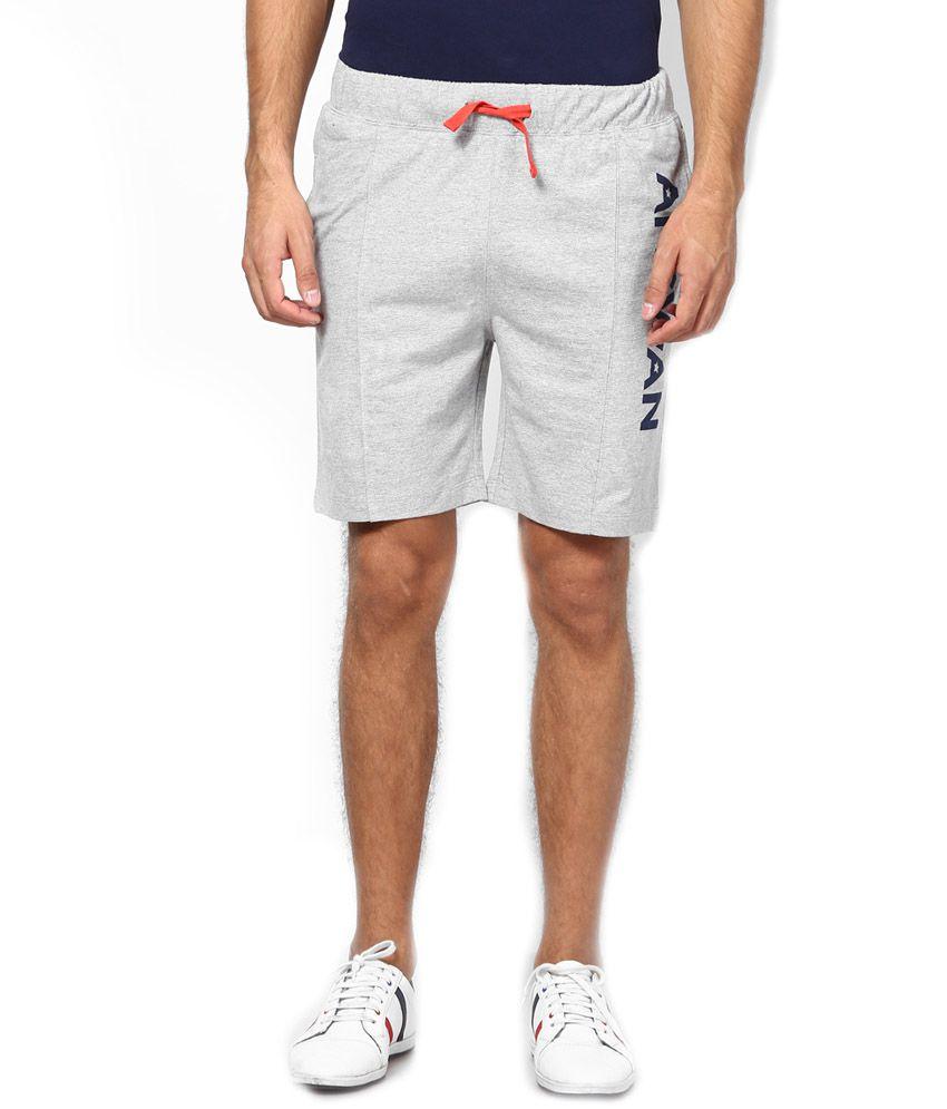 American Swan Grey Melange & Fiery Red Cotton Shorts