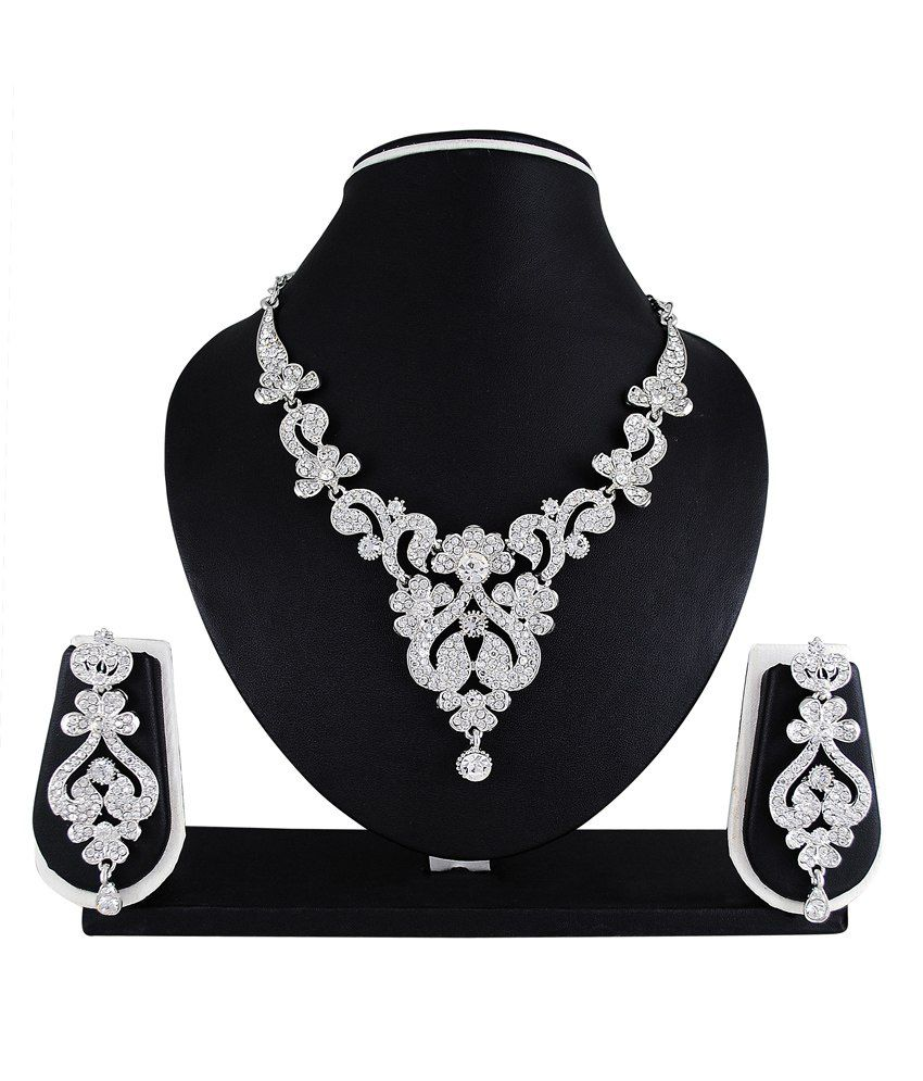 Atasi International Silver Bridal Stella Necklace Set