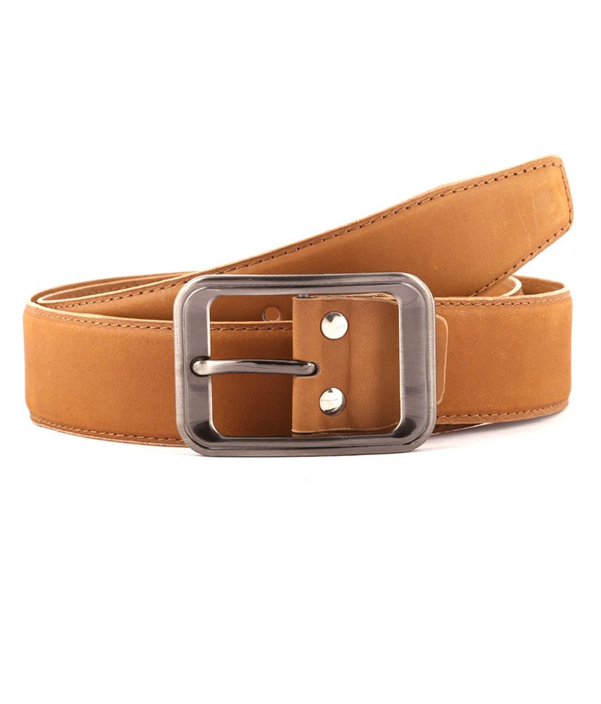 Buckleup Tan Casual Nubuck Leather Belt For Men