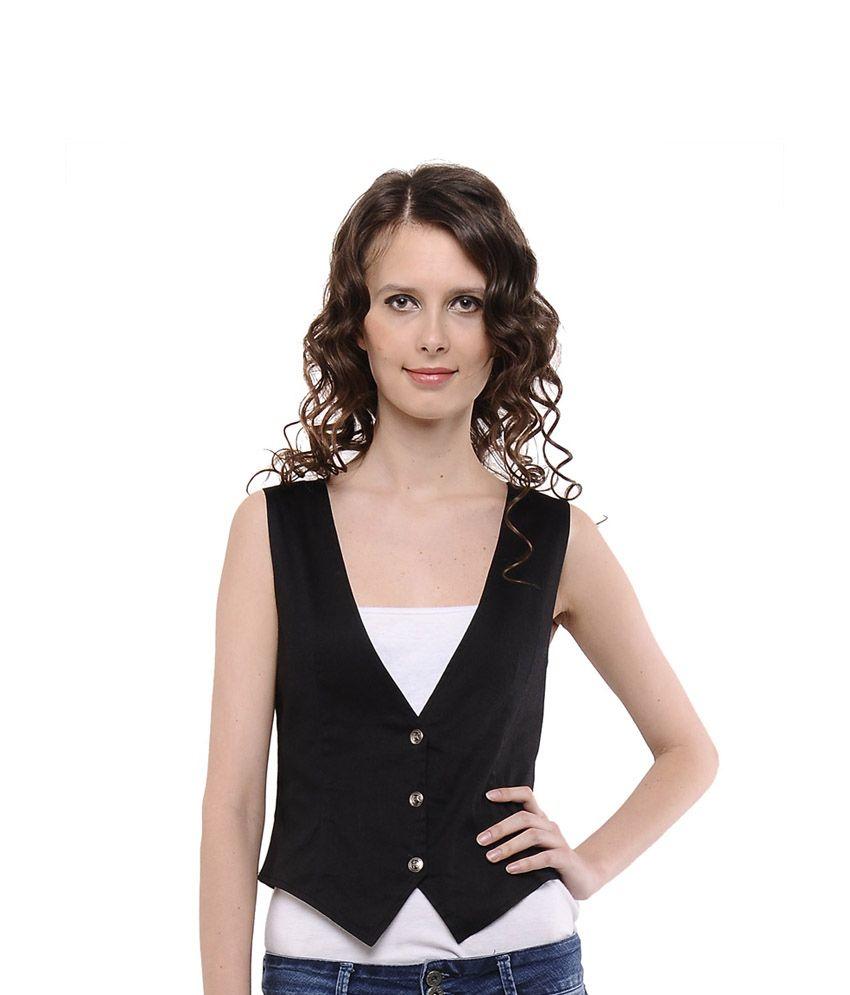 Cottinfab Black Cotton Lycra Waistcoats