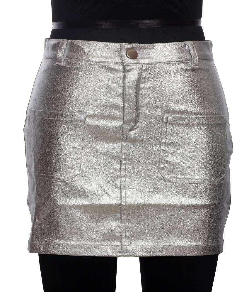 Karyn Metallic Sliver Short Skirt For Kids