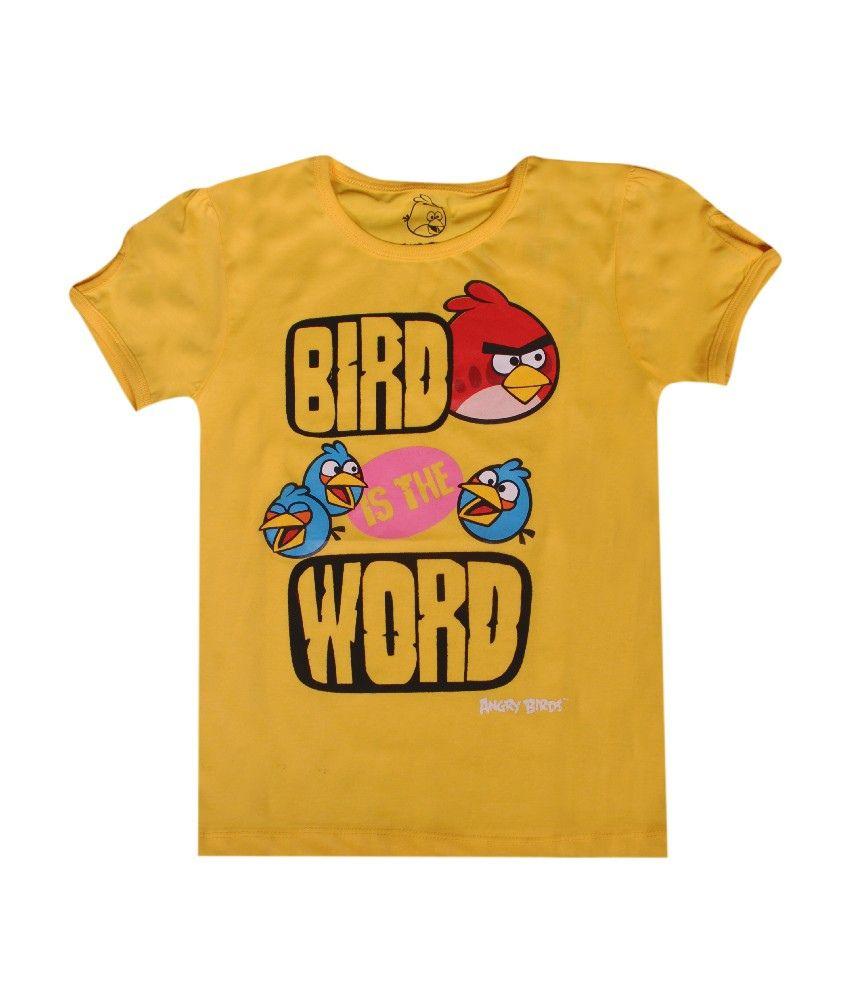 Angry birds half sleeves light yellow t shirt for kids for Yellow t shirt for kids