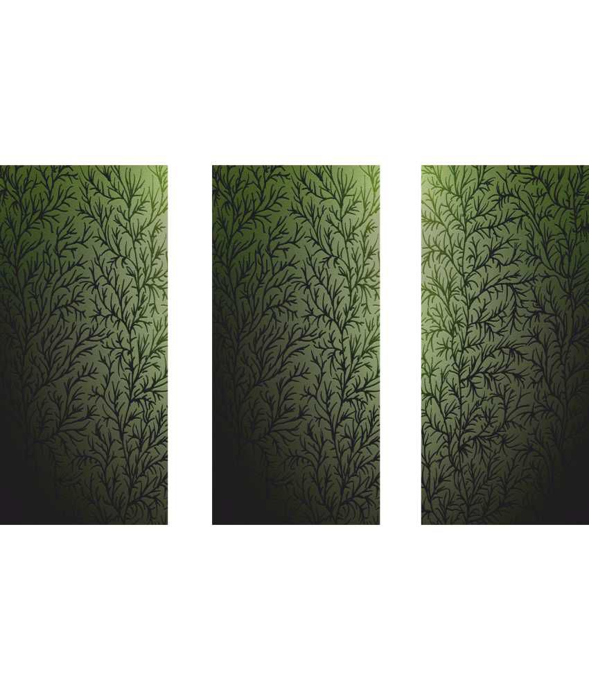 Anwesha's Green Floral 3 Frame Split Effect Digitally Printed Canvas Wall Painting