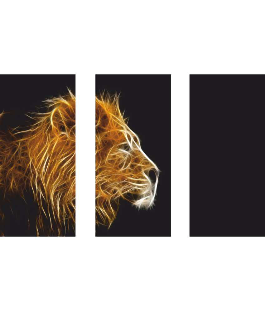 Anwesha's Lion 3 Frame Split Effect Digitally Printed Canvas Wall Painting