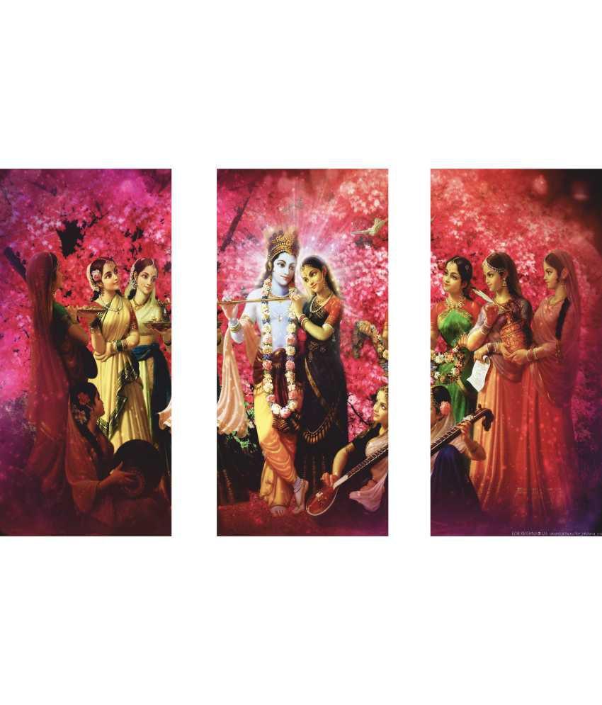 Anwesha's Radha Krishna Pink 3 Frame Split Effect Digitally Printed Canvas Wall Painting