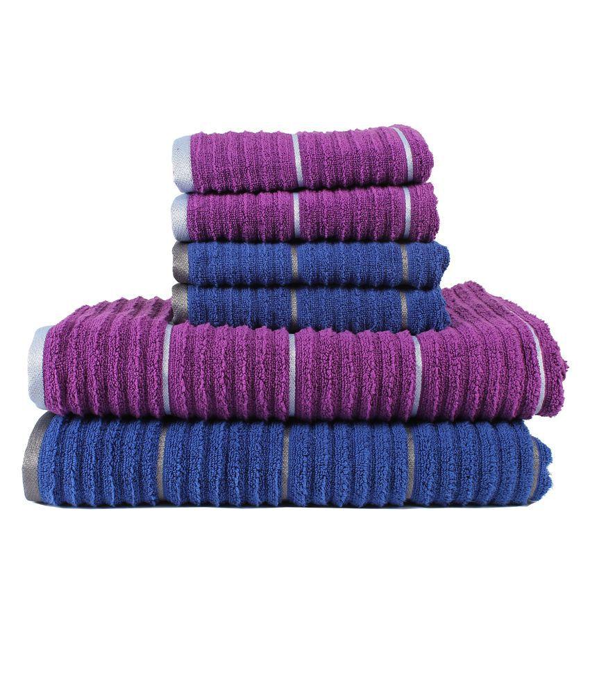 Casa copenhagen linea ribbed zero twist sparkling grape deep sapphire 2 pcs bath towels 4 - Casa copenaghen ...