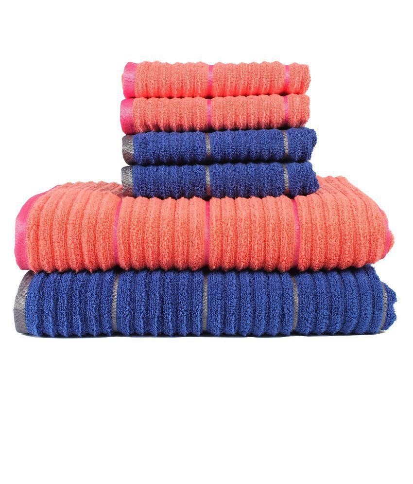 Casa copenhagen linea ribbed zero twist fusion coral deep sapphire 2 pcs bath towels 4 pcs - Casa copenaghen ...