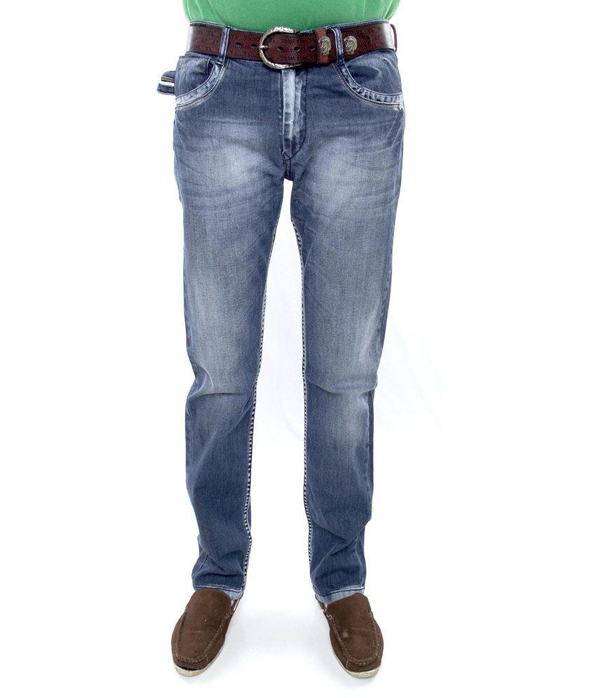 Crude Blue Cotton Slim Fit Men's Funky Lycra Jeans