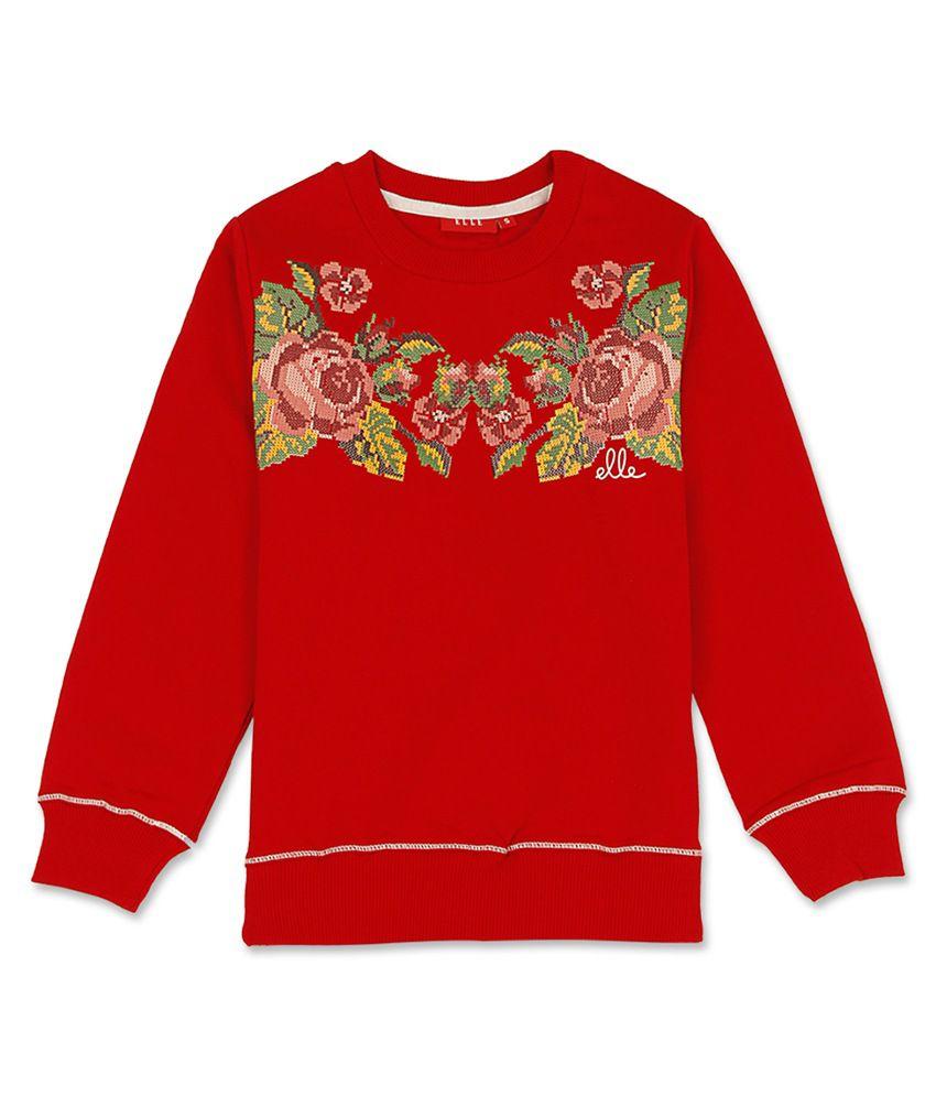 Elle Kids Girl's Red Slim Fit Sweat Shirt
