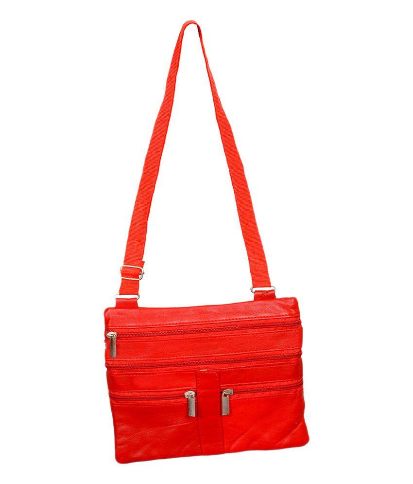 Etonner Red Leather Zip Sling