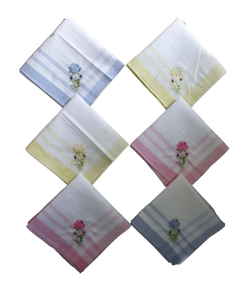 Milano Floral Embroidery 100% Cotton Ladies Hankies (6 Pcs)