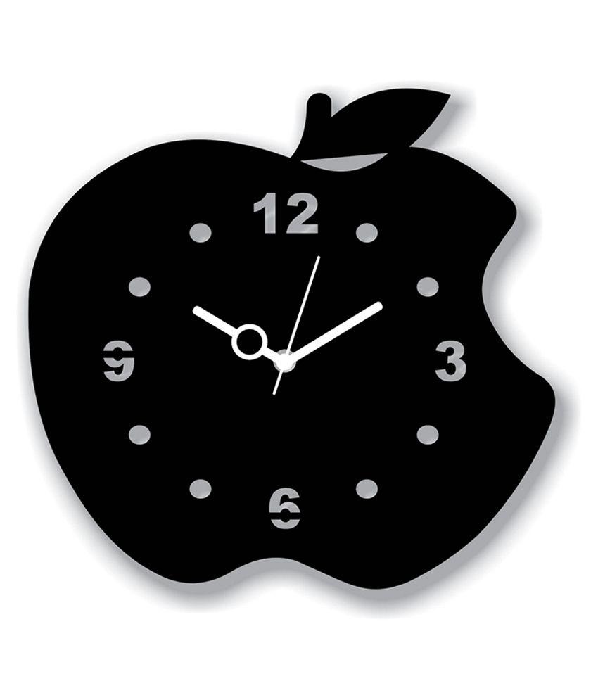 Panache Black Mdf Wood Apple Design Wall Clock Buy Panache Black