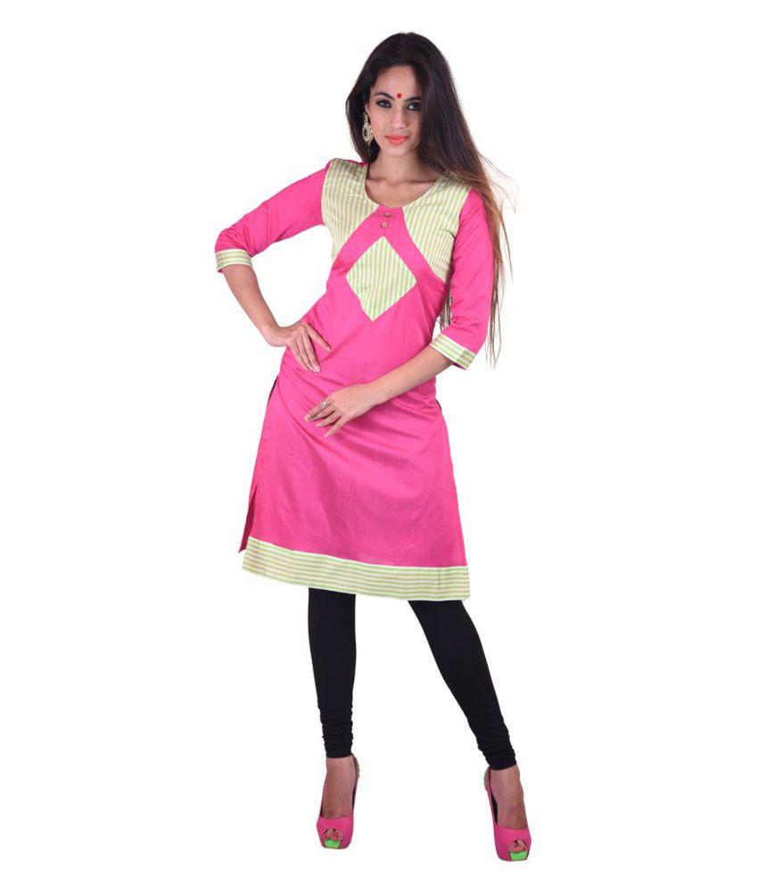 Azaira Casual Pink Kurti In Cotton Silk