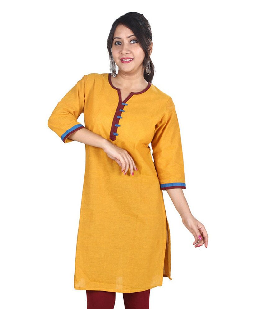17ec581f55 Mreach Yellow Plain Cotton V-neck 3/4th Sleeves Kurtis - Buy Mreach Yellow  Plain Cotton V-neck 3/4th Sleeves Kurtis Online at Best Prices in India on  ...