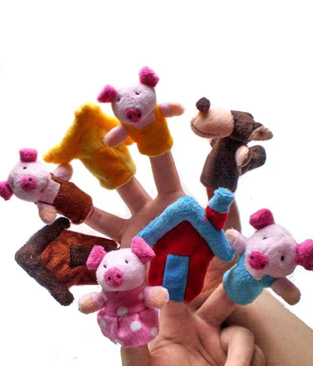 Kuhu Creations Finger Puppets Three Little Pig Story Set 8 Pcs Education Play Toy Puppets