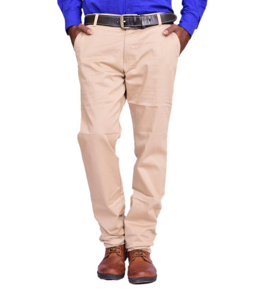 British Terminal Beige Cotton Lycra Comfort Fit Casual Chinos