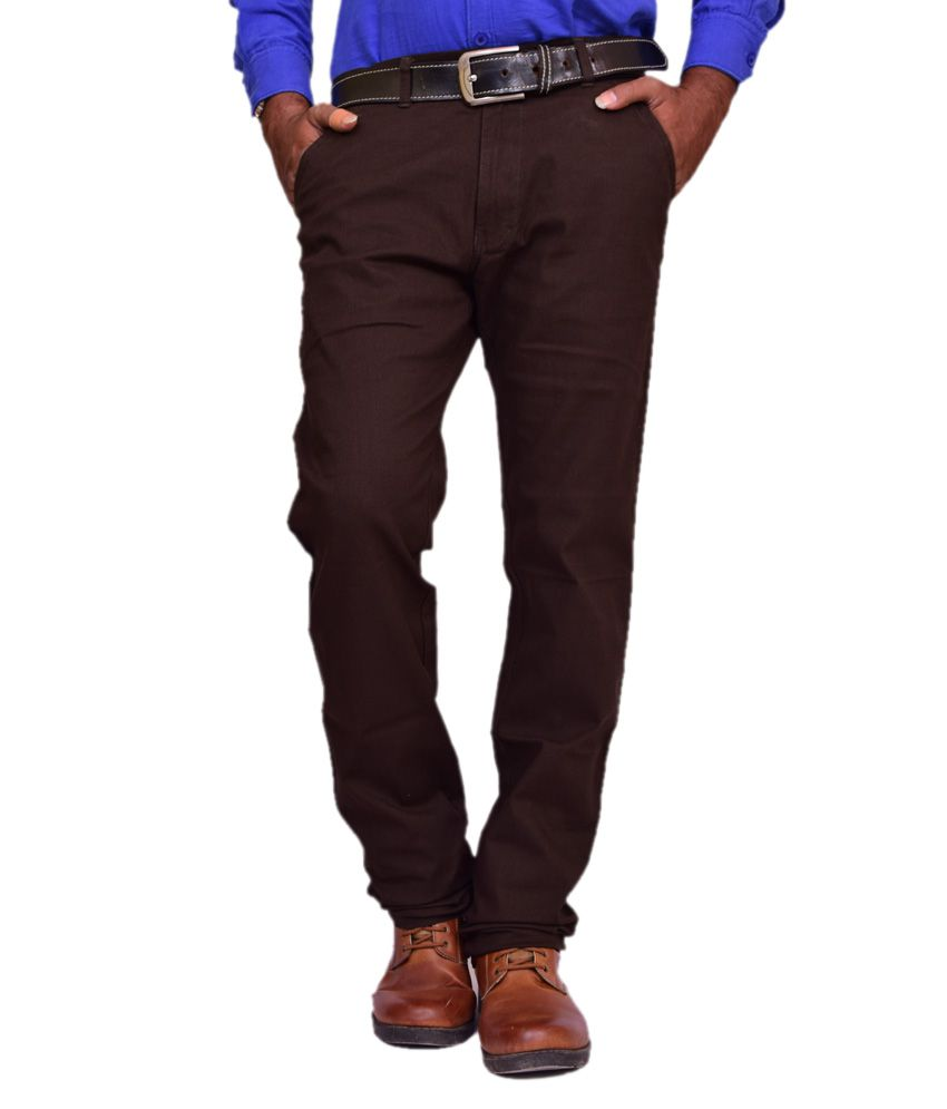 British Terminal Brown Linen Comfort Fit Casual Chinos