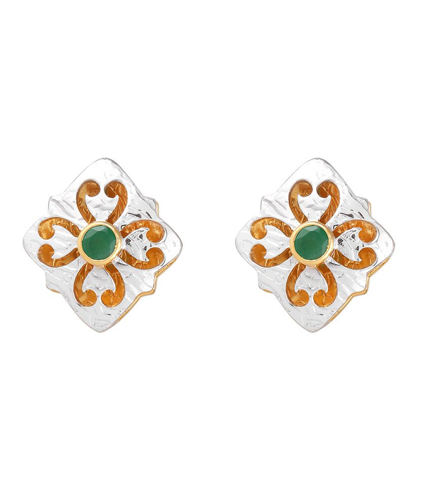 Milaan Contemporary 24kt Gold And 92.5 Sterling Silver Emerald Earrings