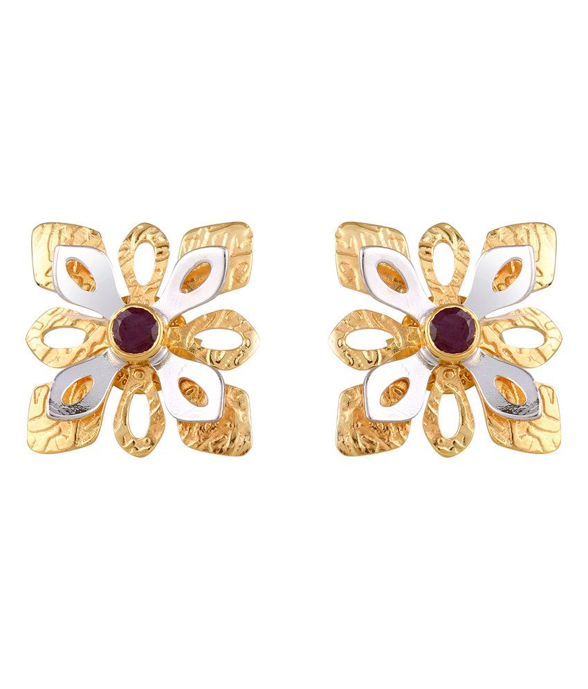 Milaan Contemporary 24kt Gold And 92.5 Sterling Silver Ruby Earrings