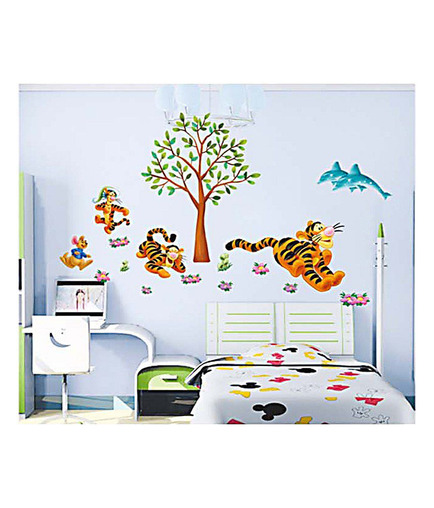 Pindia Brown & Black Tiger Runner Wall Sticker