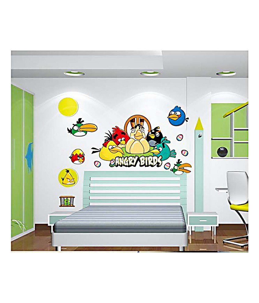 6b82f47538 Pindia Yellow & Blue Angry Birds In Group Wall Sticker - Buy Pindia Yellow  & Blue Angry Birds In Group Wall Sticker Online at Best Prices in India on  ...