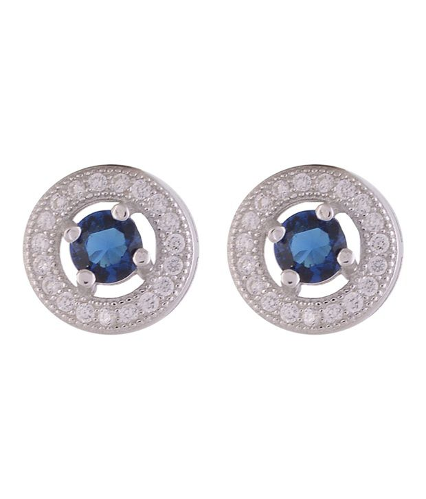 Angel Rhodium Plated Cz Stud Silver Earrings