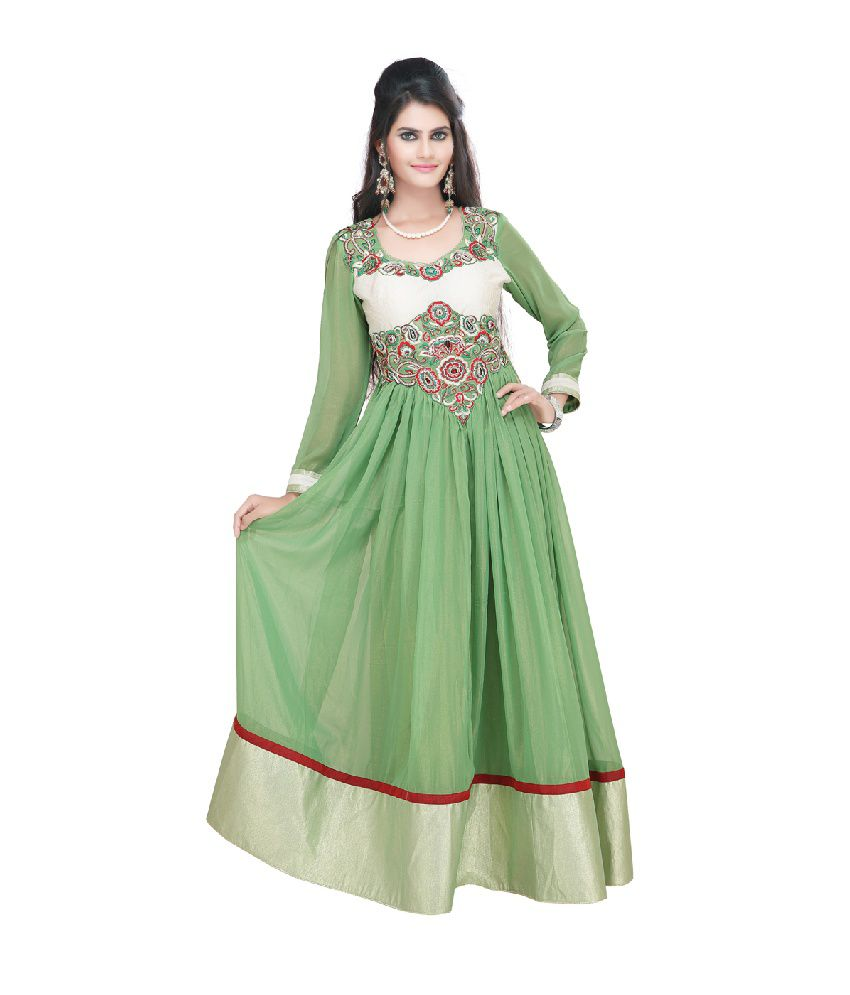 Fashion205 Green Faux Georgette Embroidered Anarkali Salwar Suit