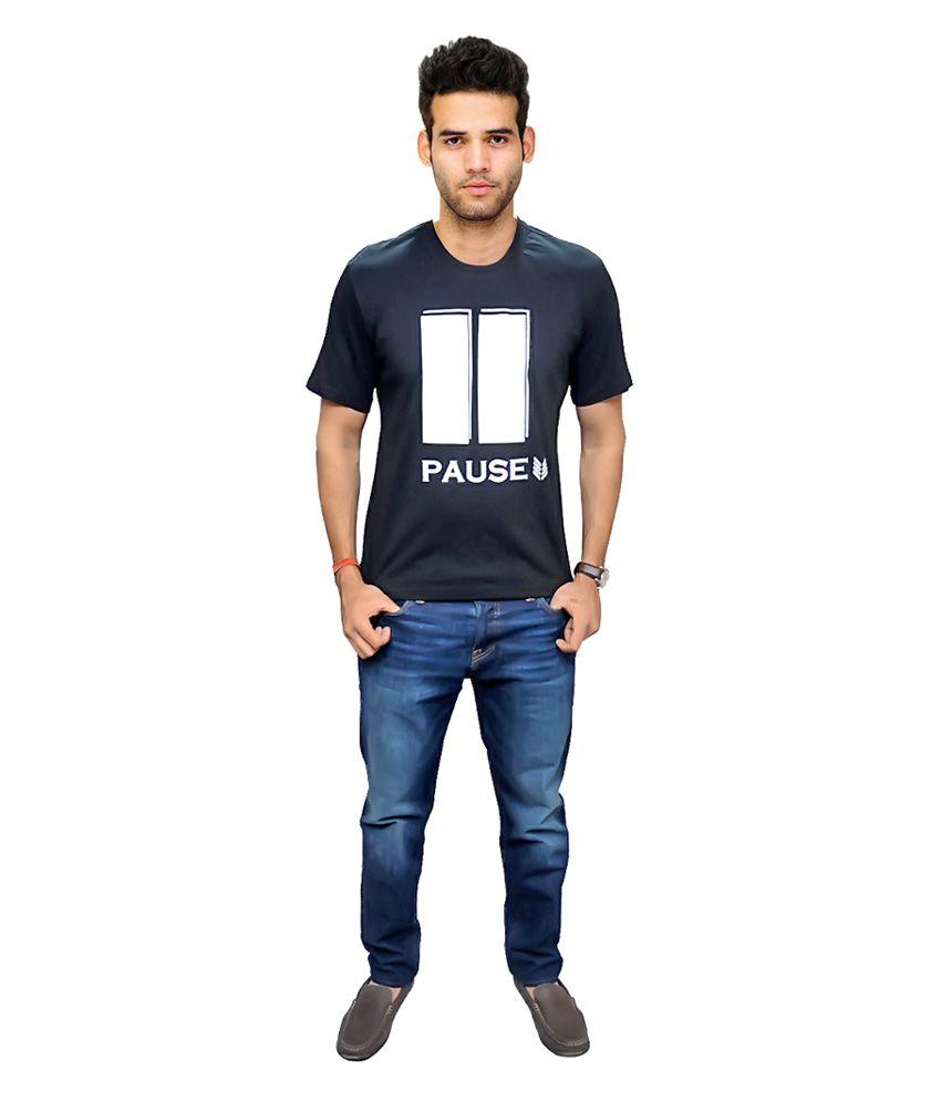 Frontline Intl Inc Navy Cotton Blend Round Neck Pausecrewtee T-shirt