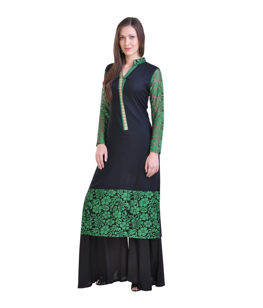 Libas Black Embroidered Cotton Straight Fit Stitched Salwar Suit