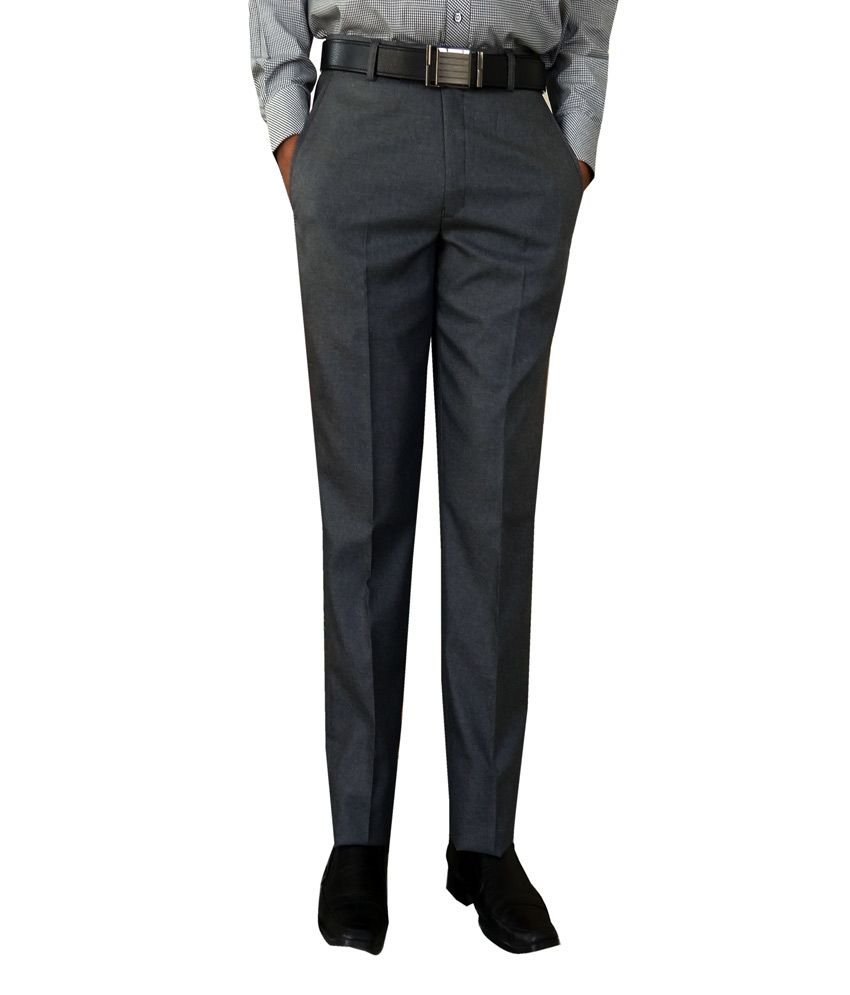 Oswal Gray Poly Viscose Formal Trouser