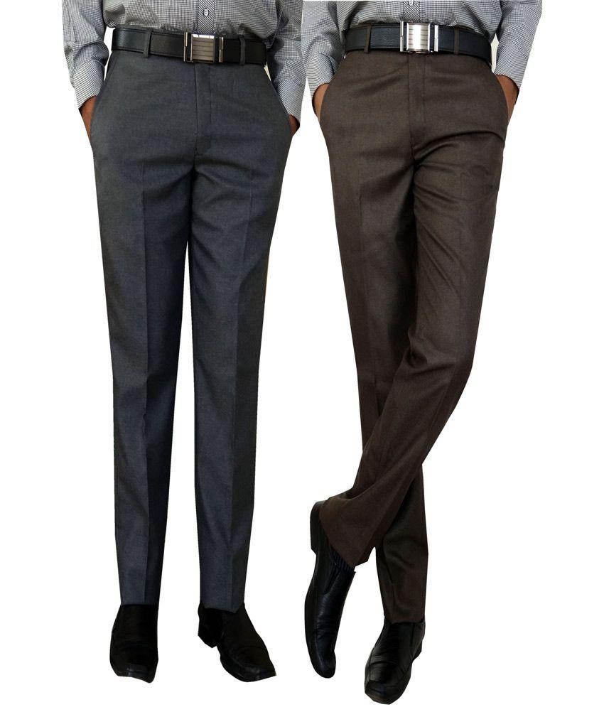 AD & AV Multicolour Poly Viscose Flat Regular Formal Trousers -pack Of 2