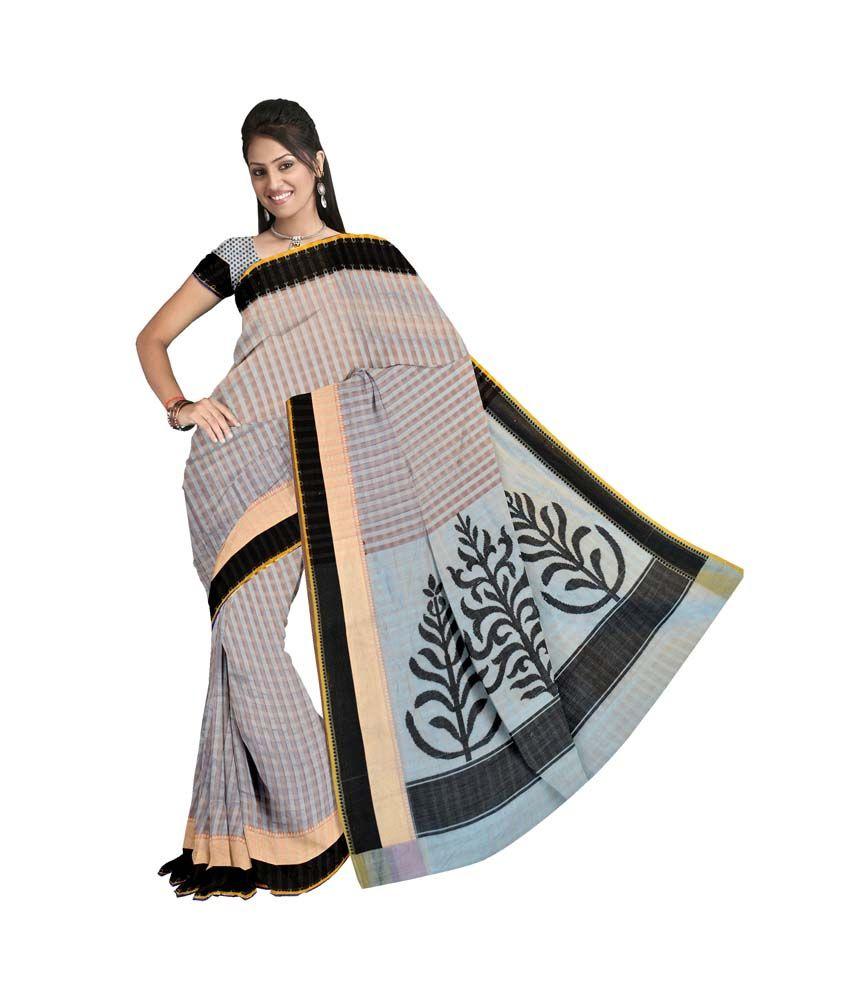 Vandana Fashion Blue Cotton Silk Banarasi Saree With Blouse Piece