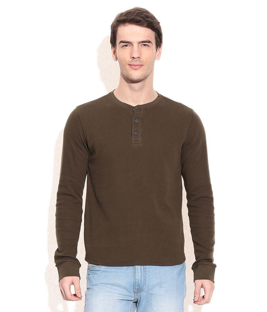 Cherokee Green Cotton Henley T-Shirt