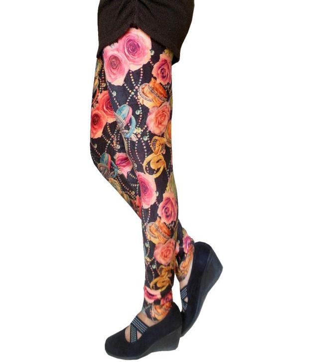 d479d8bcc7a6a4 Auraori Vogueaura Woolen Fleece Stretchable Floral Print Leggings Auraori  Vogueaura Woolen Fleece Stretchable Floral Print Leggings